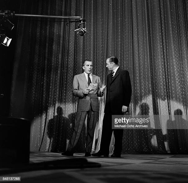 Host Ed Sullivan talks about the 20th Anniversary of AP Photo Wire service on the 'Toast of the Town' show hosted by Ed Sullivan at the Maxine...