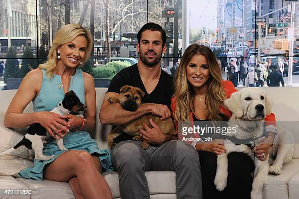 TV host Elisabeth Hasselbeck football player Eric Decker and singer Jessie James Decker speak during FOX and Friends at FOX Studios on May 1 2015 in...