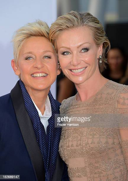 TV host Ellen DeGeneres and wife Portia de Rossi arrive at the 64th Annual Primetime Emmy Awards at Nokia Theatre LA Live on September 23 2012 in Los...