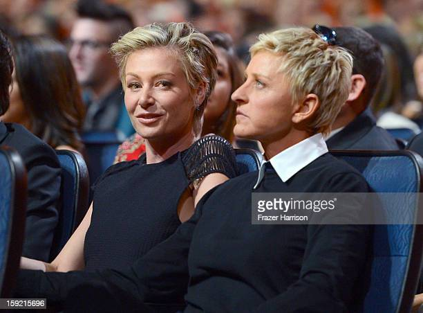 TV host Ellen DeGeneres and wife Portia de Rossi attend the 39th Annual People's Choice Awards at Nokia Theatre LA Live on January 9 2013 in Los...