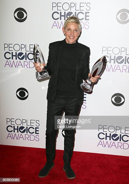 Host Ellen DeGeneres poses in the press room during the People's Choice Awards 2016 at Microsoft Theater on January 6 2016 in Los Angeles California