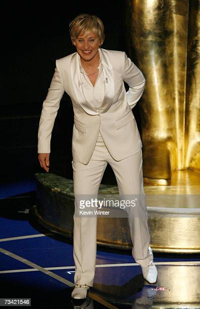 Host Ellen DeGeneres speaks onstage during the 79th Annual Academy Awards at the Kodak Theatre on February 25, 2007 in Hollywood, California.