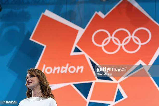 Host Ellie Crisell during the' London 2012 One Year To Go' ceremony in Trafalgar Square on July 27 2011 in London England The one year countdown to...