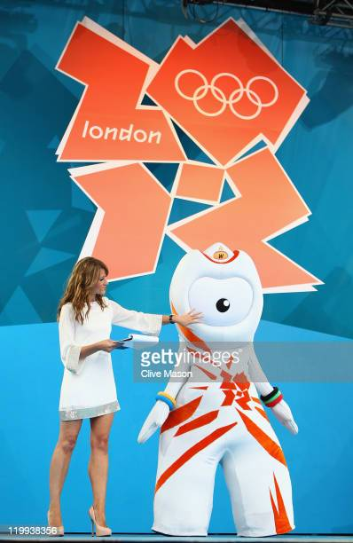 Host Ellie Crisell introduces Wenlock London 2012 Olympic Game mascot during the' London 2012 One Year To Go' ceremony in Trafalgar Square on July 27...