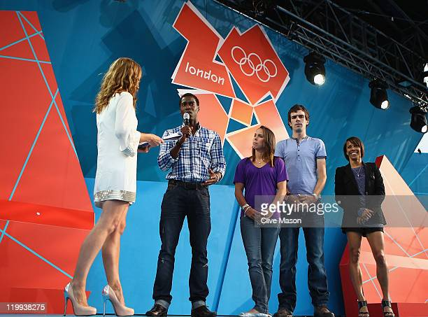 Host Ellie Crisell speaks to British Olympic athletes Christian Malcolm Beth Tweddle Andy Tennant and Dame Kelly Holmes during the' London 2012 One...