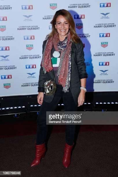 Host Elsa Fayer attends The truth about the Harry Quebert affair La verite sur l'affaire Harry Quebert Paris Photocall at Cinema Gaumont Marignan on...