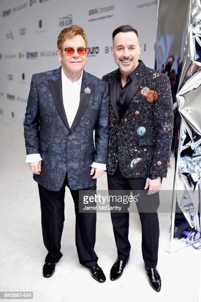 Host Elton John and Chairman David Furnish attend the 25th Annual Elton John AIDS Foundation's Oscar Viewing Party at The City of West Hollywood Park...