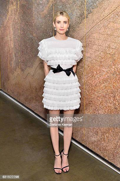 Host Emma Roberts attends the LA Art Show 2017 opening night premiere hosted by Emma Roberts benefiting St Jude Children's Research Hospital at Los...