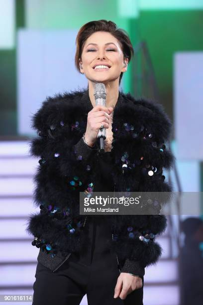 Host Emma Willis attends the Celebrity Big Brother male contestants launch night at Elstree Studios on January 5 2018 in Borehamwood England