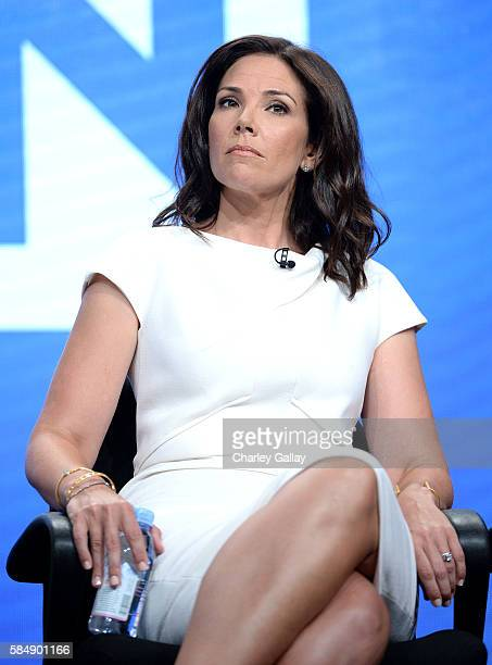 Host Erica Hill speaks onstage during the 'Live from NY, LA & Atlanta' panel at the TCA Turner Summer Press Tour 2016 Presentation at The Beverly...