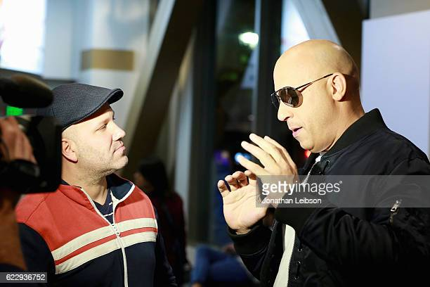 Host Erik Davis interviews actor Vin Diesel at the LA fan event of the Paramount Pictures title 'xXx Return of Xander Cage' at Regal LA Live on...