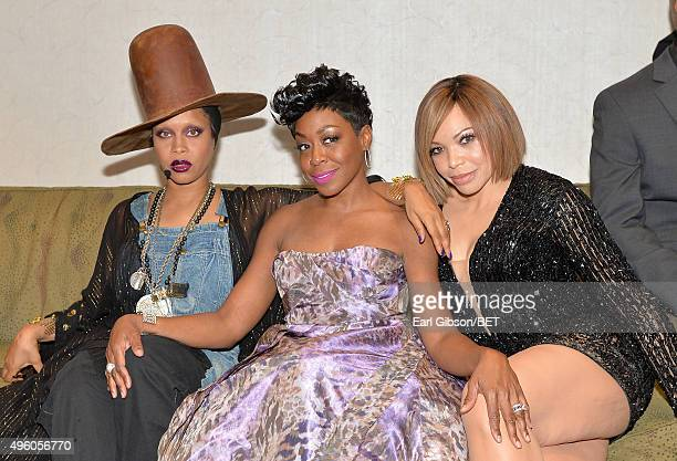Host Erykah Badu actress Tichina Arnold and actress Tisha CampbellMartin attend the 2015 Soul Train Music Awards at the Orleans Arena on November 6...