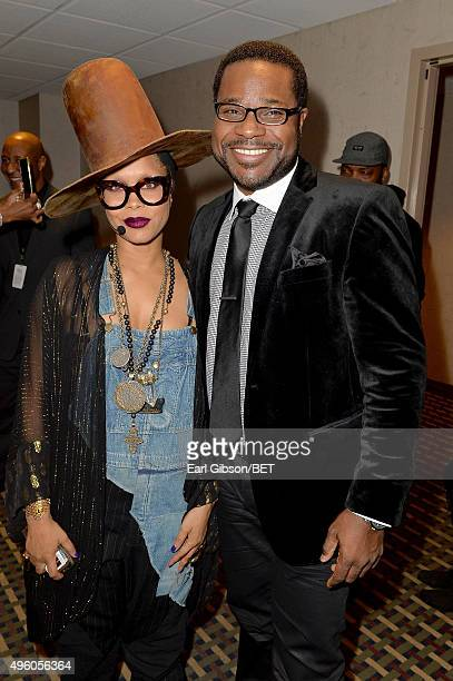 Host Erykah Badu and actor Malcolm-Jamal Warner attend the 2015 Soul Train Music Awards at the Orleans Arena on November 6, 2015 in Las Vegas, Nevada.