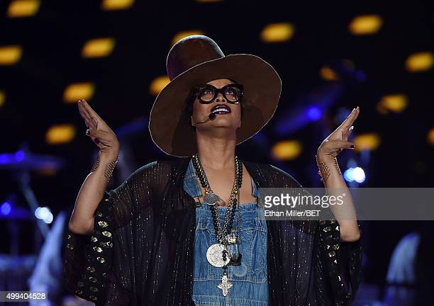 Host Erykah Badu performs during the 2015 Soul Train Music Awards at the Orleans Arena on November 6 2015 in Las Vegas Nevada