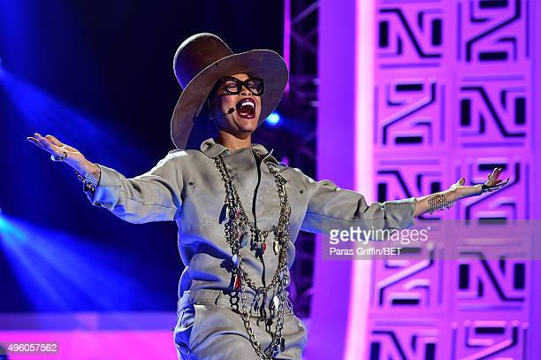 Host Erykah Badu performs onstage during the 2015 Soul Train Music Awards at the Orleans Arena on November 6 2015 in Las Vegas Nevada