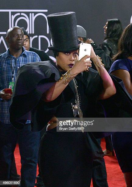 Host Erykah Badu poses for a selfie photo at the 2015 Soul Train Music Awards at the Orleans Arena on November 6 2015 in Las Vegas Nevada