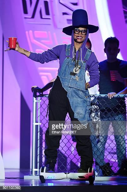 Host Erykah Badu speaks during the 2015 Soul Train Music Awards at the Orleans Arena on November 6 2015 in Las Vegas Nevada