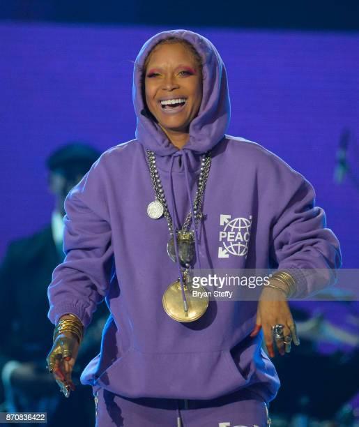 Host Erykah Badu speaks during the 2017 Soul Train Music Awards at the Orleans Arena on November 5 2017 in Las Vegas Nevada