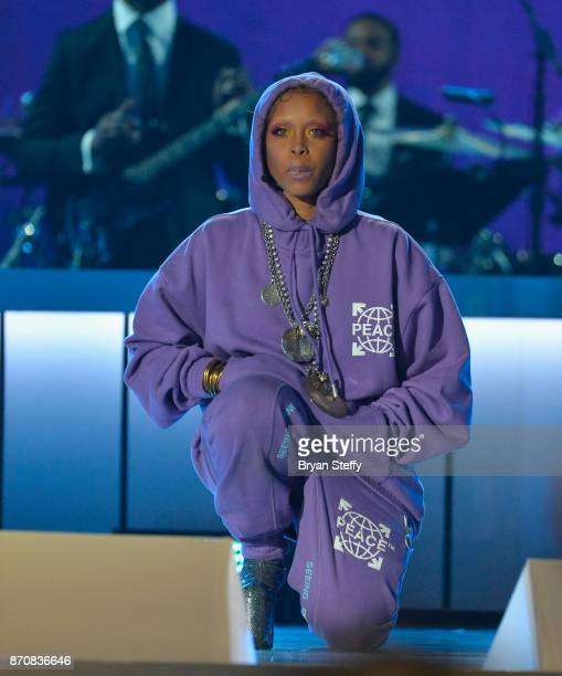 Host Erykah Badu speaks during the 2017 Soul Train Music Awards at the Orleans Arena on November 5 2017 in Las Vegas Nevada