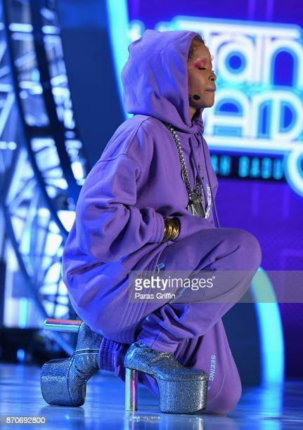 Host Erykah Badu speaks onstage at the 2017 Soul Train Awards presented by BET at the Orleans Arena on November 5 2017 in Las Vegas Nevada