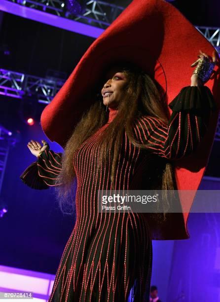 Host Erykah Badu speaks onstage at the 2017 Soul Train Awards presented by BET at the Orleans Arena on November 5 2017 in Las Vegas Nevada