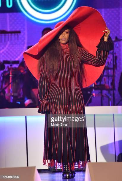 Host Erykah Badu speaks onstage during the 2017 Soul Train Music Awards at the Orleans Arena on November 5 2017 in Las Vegas Nevada