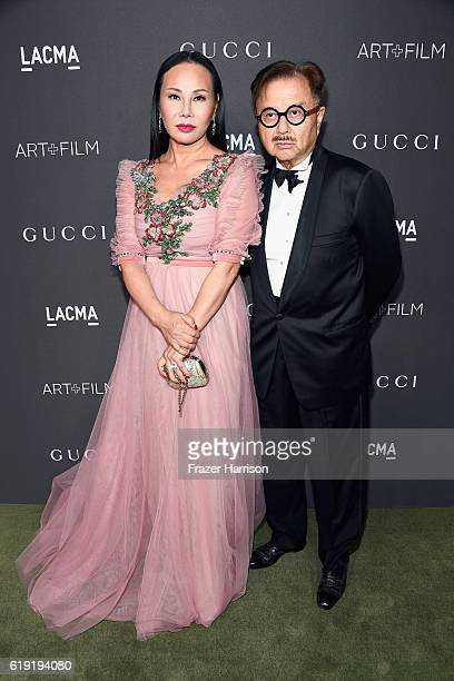 Host Eva Chow wearing Gucci and actor Michael Chow attend the 2016 LACMA Art Film Gala honoring Robert Irwin and Kathryn Bigelow presented by Gucci...