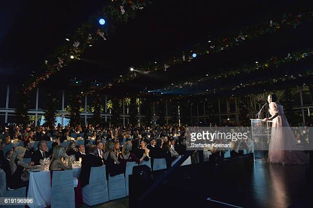 Host Eva Chow wearing Gucci speaks onstage during the 2016 LACMA Art Film Gala Honoring Robert Irwin and Kathryn Bigelow Presented By Gucci at LACMA...