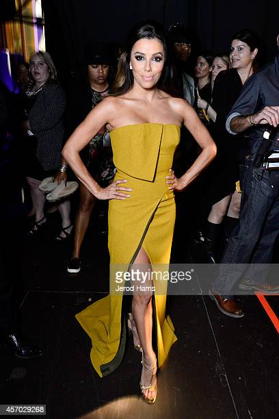 Host Eva Longoria poses backstage at the 2014 NCLR ALMA Awards at the Pasadena Civic Auditorium on October 10 2014 in Pasadena California