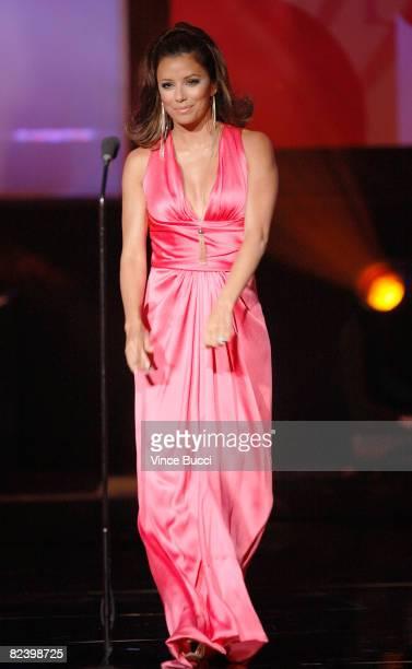 Host Eva Longoria speaks onstage during the 2008 ALMA Awards at the Pasadena Civic Auditorium on August 17 2008 in Pasadena California