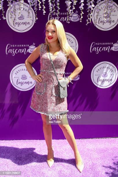 Host Evelyn Burdecki attends the Lascana show at Titanic Hotel on July 1, 2019 in Berlin, Germany.