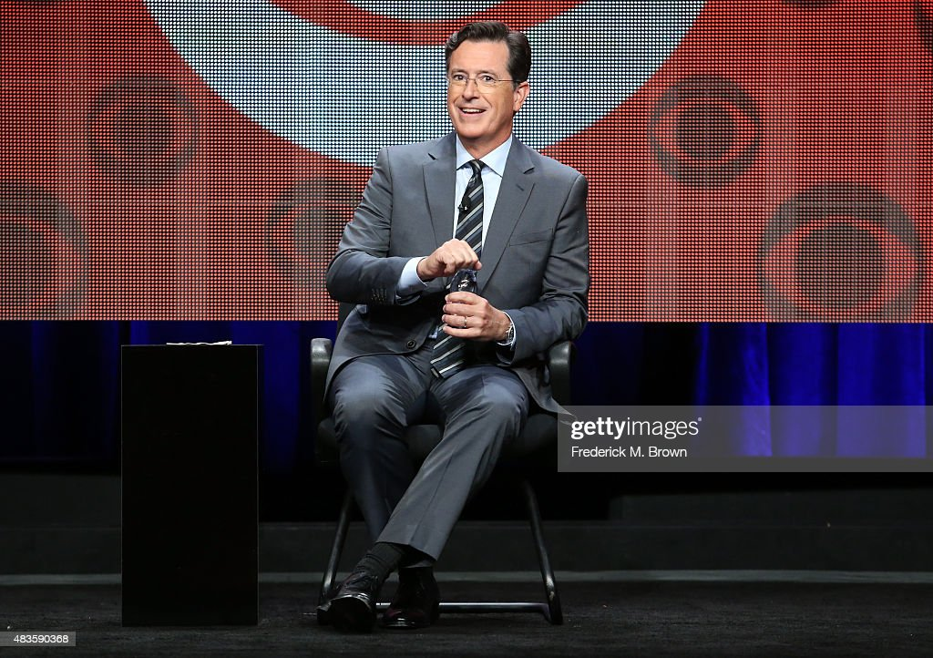 Host, executive producer, writer Stephen Colbert speaks onstage during the 'The Late Show with Stephen Colbert' panel discussion at the CBS portion of the 2015 Summer TCA Tour at The Beverly Hilton Hotel on August 10, 2015 in Beverly Hills, California.
