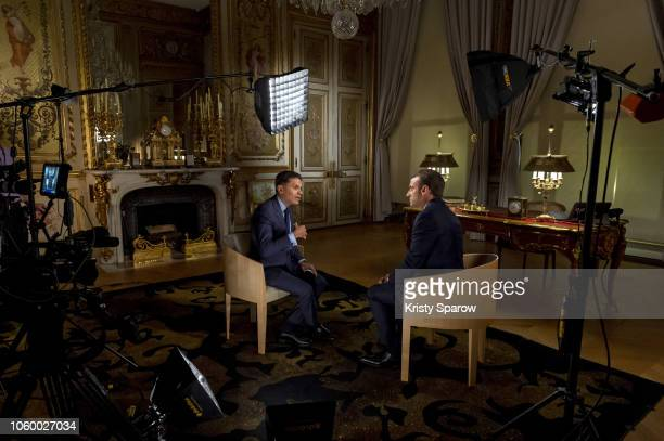 CNN host Fareed Zakaria interviews French President Emmanuel Macron at the Elysee Palace on Nov 10 in Paris France The global broadcast premieres...