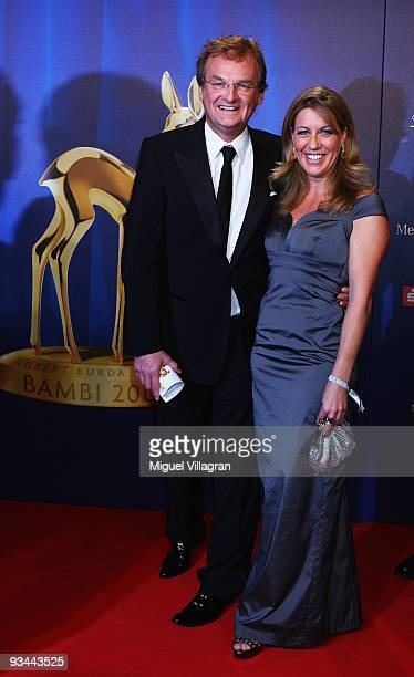 Host Frank Plasberg and Anne Gesthuysen arrive to the Bambi Awards 2009 at the Metropolis Hall at the Filmpark Babelsberg on November 26, 2009 in...