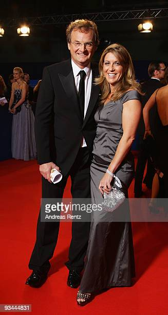 Host Frank Plasberg and partner Anne Gesthuysen arrive to the Bambi Awards 2009 at the Metropolis Hall at the Filmpark Babelsberg on November 26,...