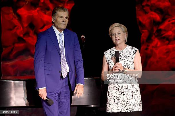 Host Fred Willard and Loraine Boyle speak onstage during the 9th Annual Comedy Celebration presented by the International Myeloma Foundation at The...