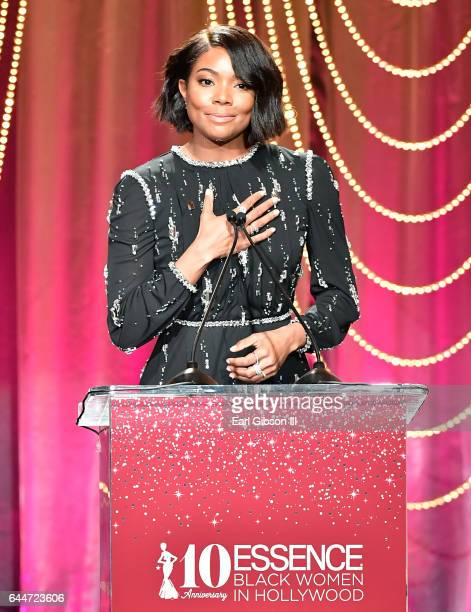 Host Gabrielle Union speaks onstage at Essence Black Women in Hollywood Awards at the Beverly Wilshire Four Seasons Hotel on February 23 2017 in...