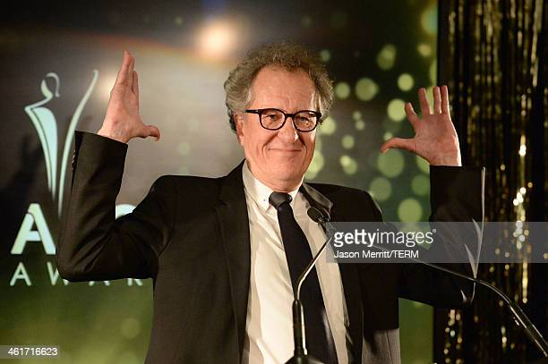 Host Geoffrey Rush speaks onstage during the 3rd AACTA International Awards at Sunset Marquis Hotel Villas on January 10 2014 in West Hollywood...