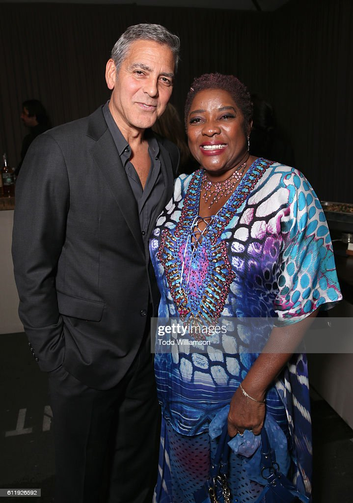 Host George Clooney (L) and actress Loretta Devine attend the MPTF 95th anniversary celebration with 'Hollywood's Night Under The Stars' at MPTF Wasserman Campus on October 1, 2016 in Los Angeles, California.