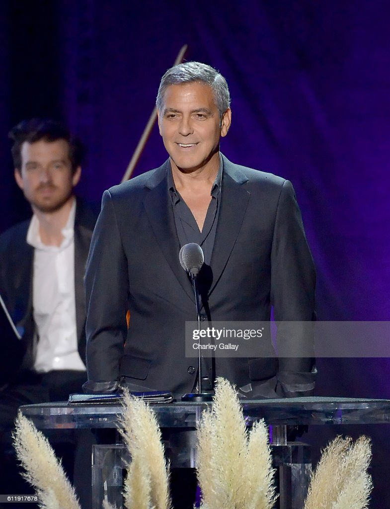 Host George Clooney speaks onstage during the MPTF 95th anniversary celebration with 'Hollywood's Night Under The Stars' at MPTF Wasserman Campus on October 1, 2016 in Los Angeles, California.