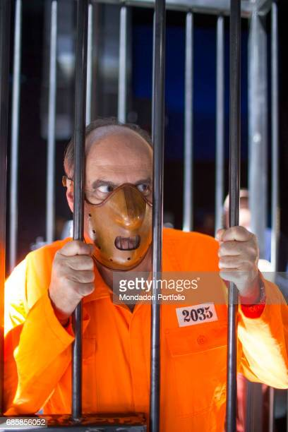TV host Gerry Scotti playing the part of Hannibal Lecter in the commercial of the game show Caduta libera Cologno Monzese Italy 26th November 2015