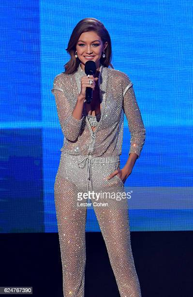 Host Gigi Hadid speaks onstage at the 2016 American Music Awards at Microsoft Theater on November 20 2016 in Los Angeles California