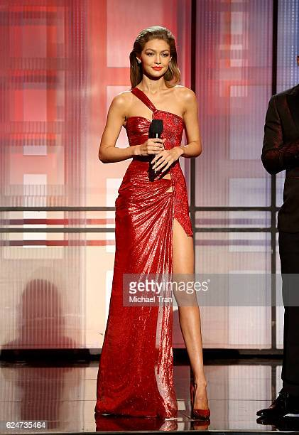 Host Gigi Hadid speaks onstage during the 2016 American Music Awards held at Microsoft Theater on November 20 2016 in Los Angeles California