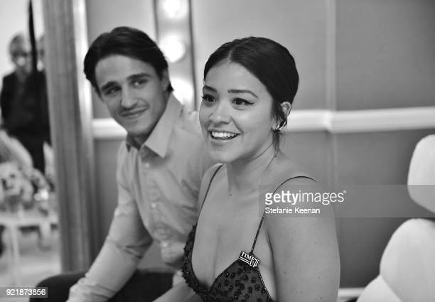 Host Gina Rodriguez and actor Joe Locicero attends the Costume Designers Guild Awards at The Beverly Hilton Hotel on February 20 2018 in Beverly...