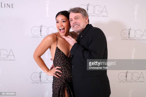 Host Gina Rodriguez and actor Mark Hamill attend the Costume Designers Guild Awards at The Beverly Hilton Hotel on February 20 2018 in Beverly Hills...