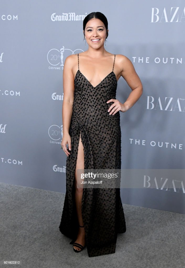 Host Gina Rodriguez attends the Costume Designers Guild Awards at The Beverly Hilton Hotel on February 20, 2018 in Beverly Hills, California.
