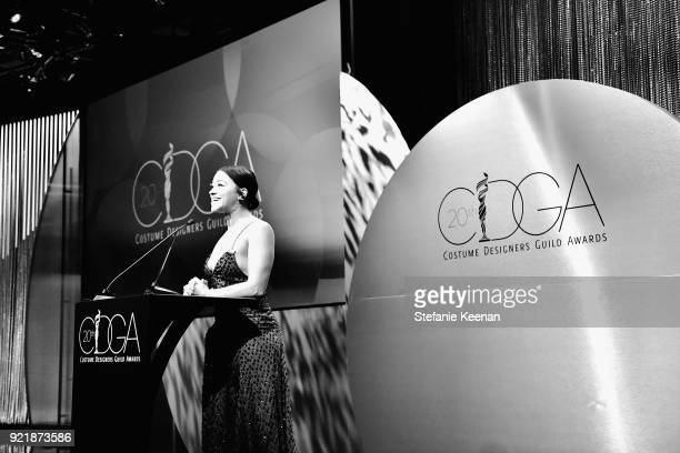 Host Gina Rodriguez speaks onstage at the Costume Designers Guild Awards at The Beverly Hilton Hotel on February 20 2018 in Beverly Hills California