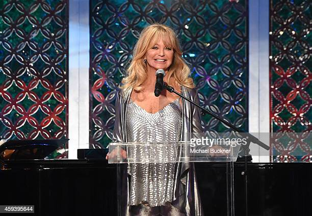 Host Goldie Hawn speaks at her inaugural 'Love In For Kids' benefiting the Hawn Foundation's MindUp program transforming children's lives for greater...