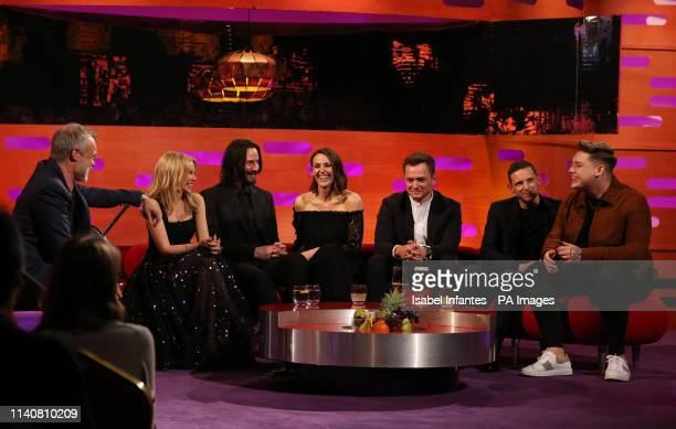 Host Graham Norton Kylie Minogue Keanu Reeves Suranne Jones Taron Egerton Jamie Bell and Michael Rice during the filming for the Graham Norton Show...