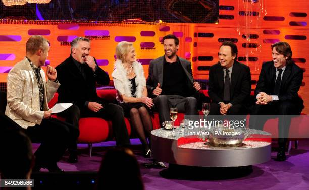 Host Graham Norton Paul HollywoodMary Berry Hugh Jackman Billy Crystal and John Bishop during filming of the New Year's Eve edition of the Graham...